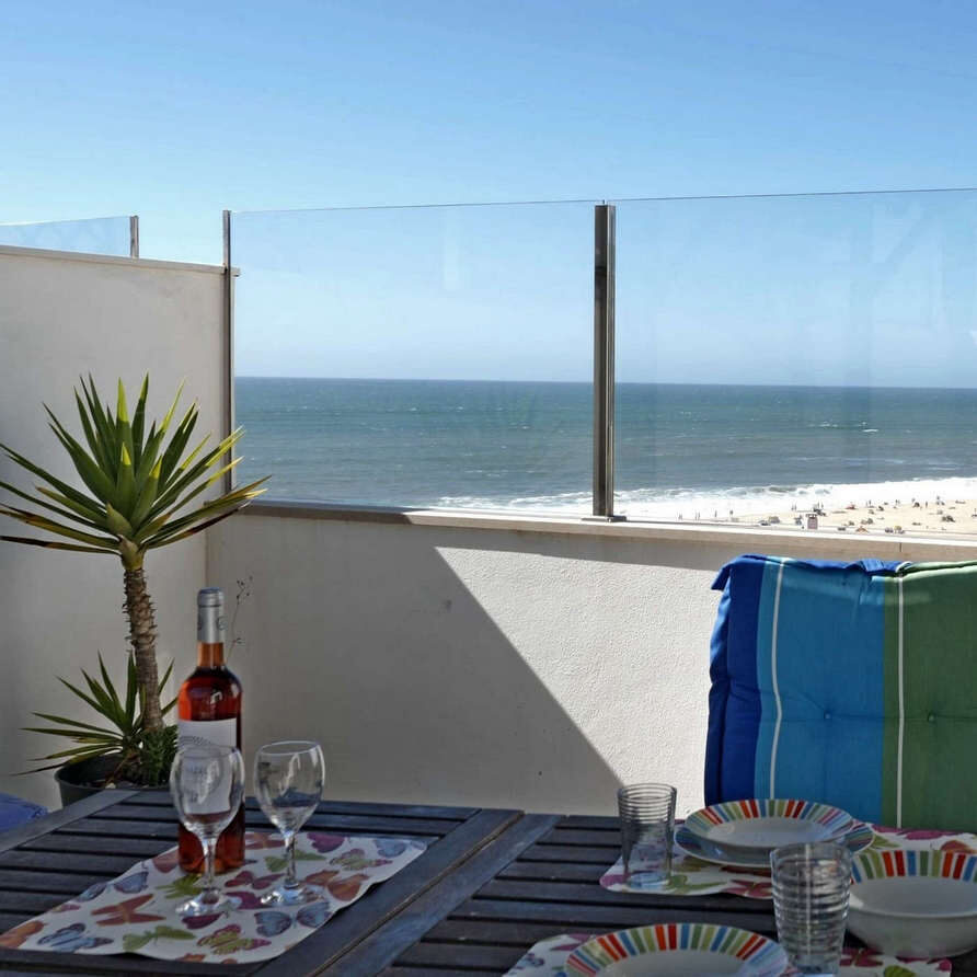 Sea and beach view from rooftoop terrace_Holiday Portugal apartment